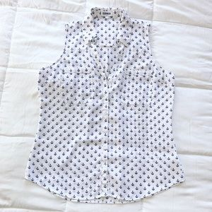 Express Short Sleeve White & Blue Anchor Blouse
